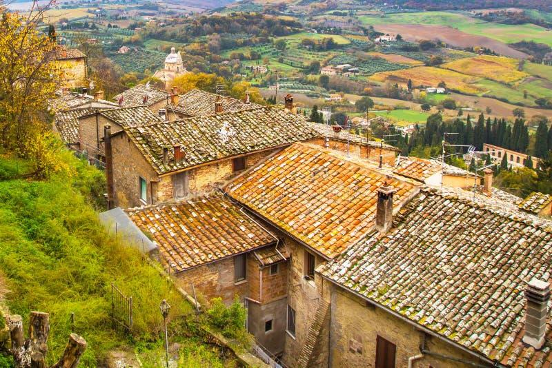 Ландшафт с старыми традиционными крышами домов, кипарис Тосканы панорамный, виноградники, Италия стоковые фото