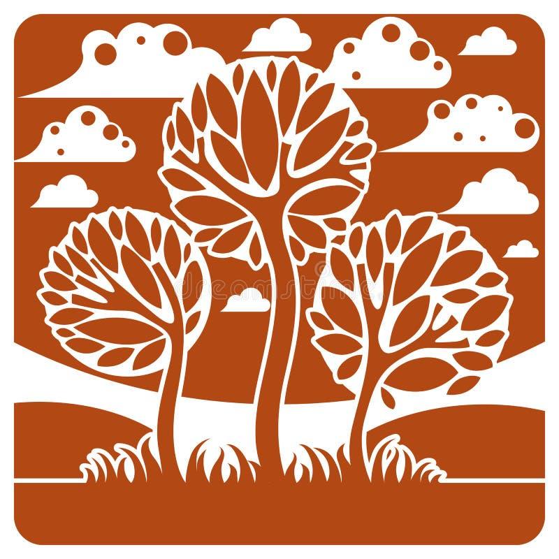 Ландшафт с стилизованным деревом, мирная сцена фантазии сезон иллюстрация вектора