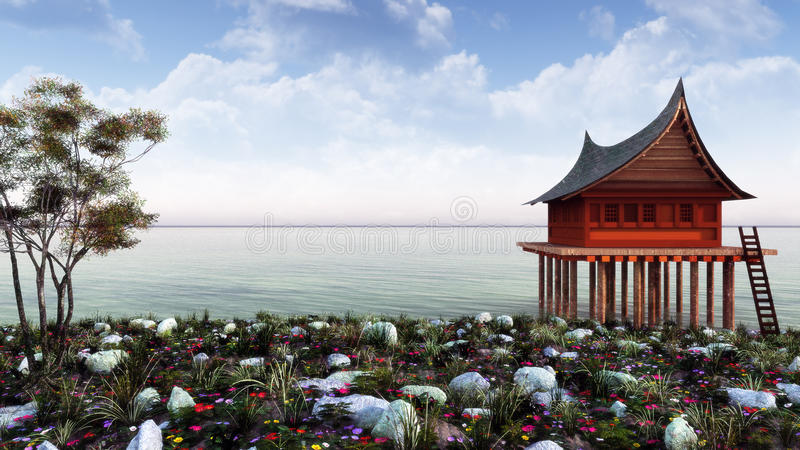 Ландшафт темы Дальнего востока бесплатная иллюстрация