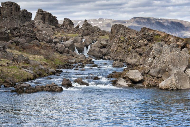 Ландшафт трещиноватости земли Pingvellir Исландии стоковые изображения rf