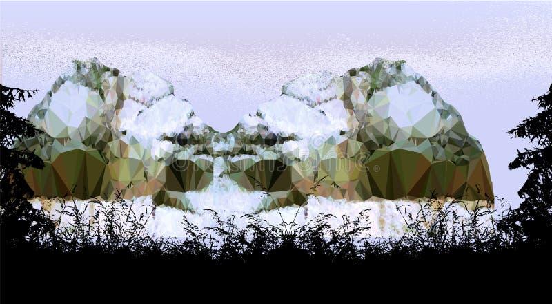 Ландшафт туманной горы с силуэтами деревьев и заводов иллюстрация вектора