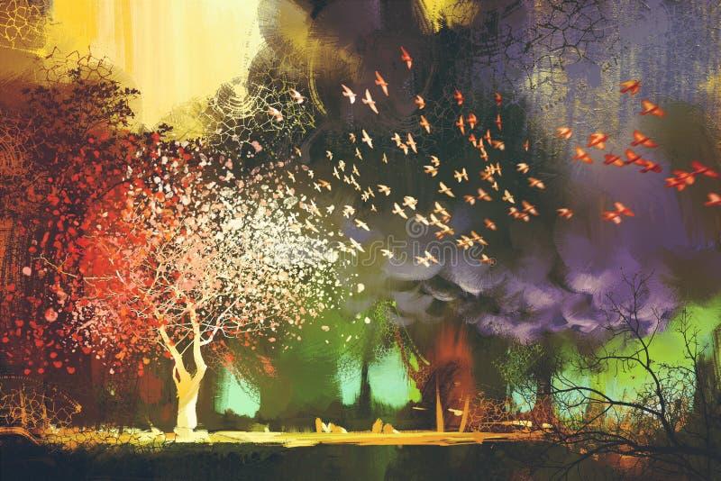 Ландшафт фантазии с загадочные деревья бесплатная иллюстрация