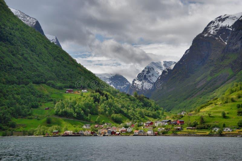 Ландшафт фьорда, Undredal, западная Норвегия стоковое изображение