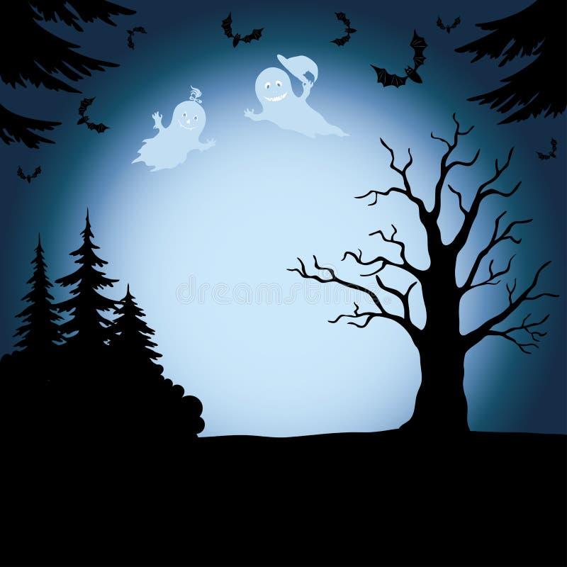 Ландшафт хеллоуина с призраками иллюстрация штока