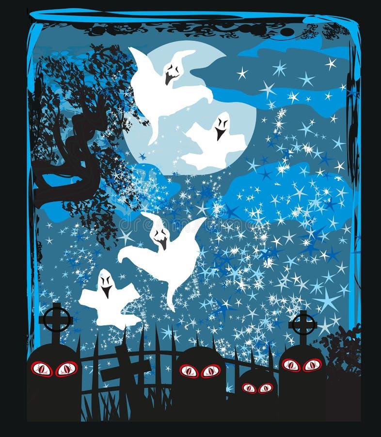 Ландшафт хеллоуина с призрачной диаграммой иллюстрация штока