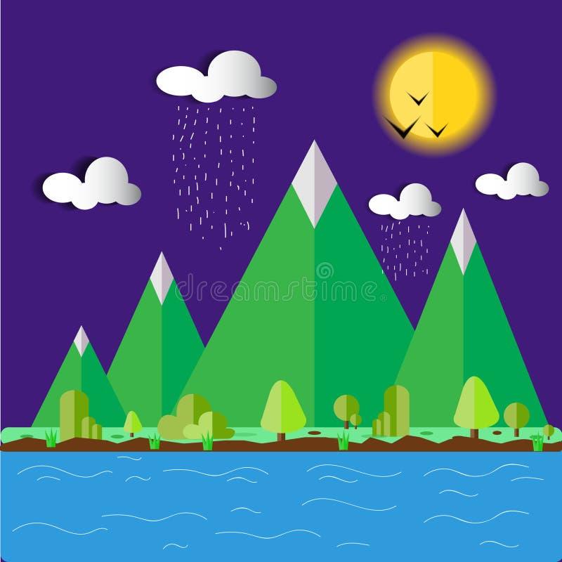 Ландшафт холма с иллюстрацией лун-вектора стоковые фотографии rf