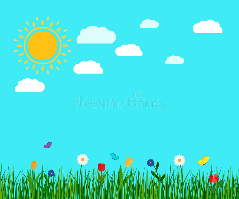 Ландшафт цветков и бабочки весны бесплатная иллюстрация