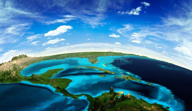 Ландшафт Центральной Америки от космоса бесплатная иллюстрация