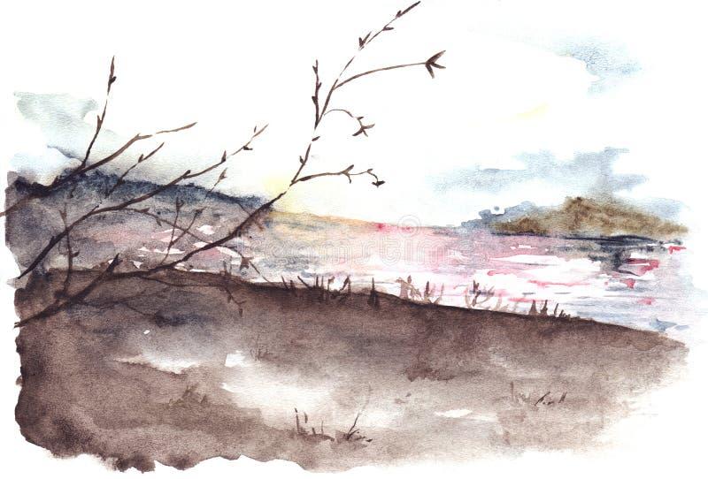 Ландшафт цены реки дерева осени весны акварели иллюстрация штока