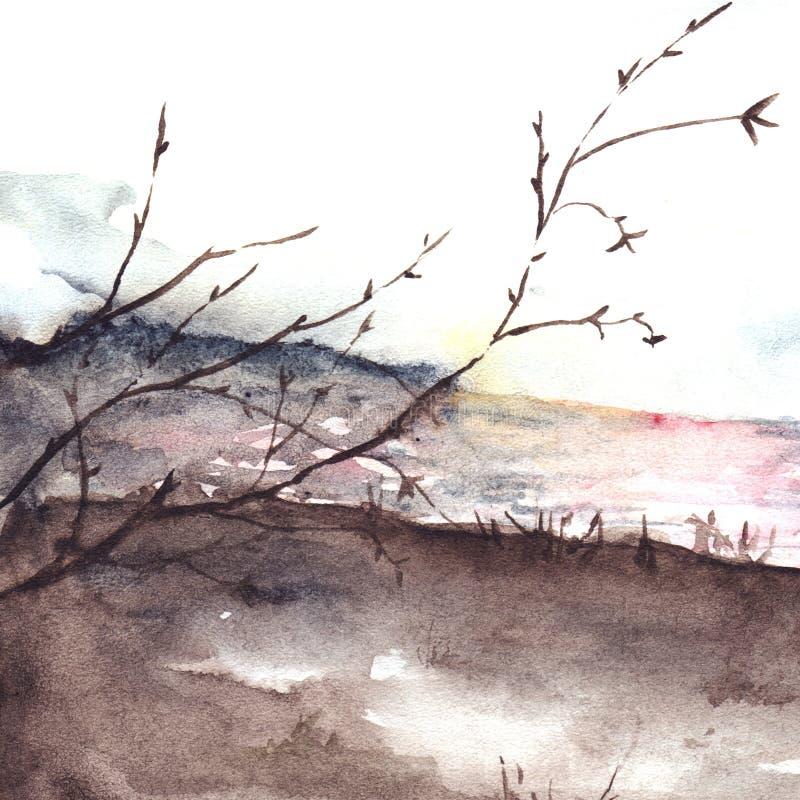 Ландшафт цены реки дерева осени весны акварели иллюстрация вектора