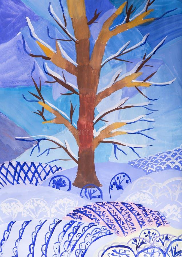 Ландшафт drawingWinter детей бесплатная иллюстрация