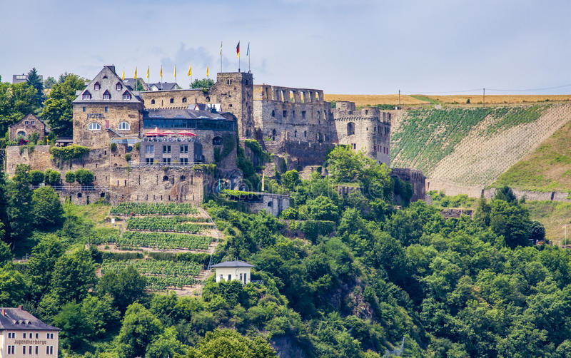 Ландшафт Rheinfels замка на Рейне Германии стоковая фотография rf
