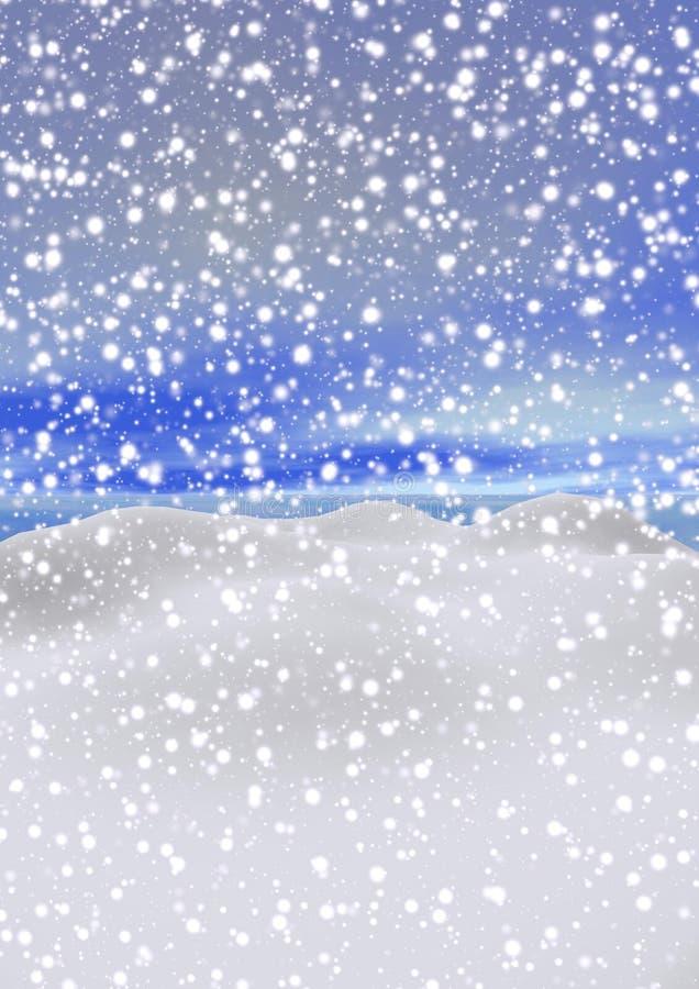 Ландшафт Snowy горы - 3d представляют иллюстрация вектора