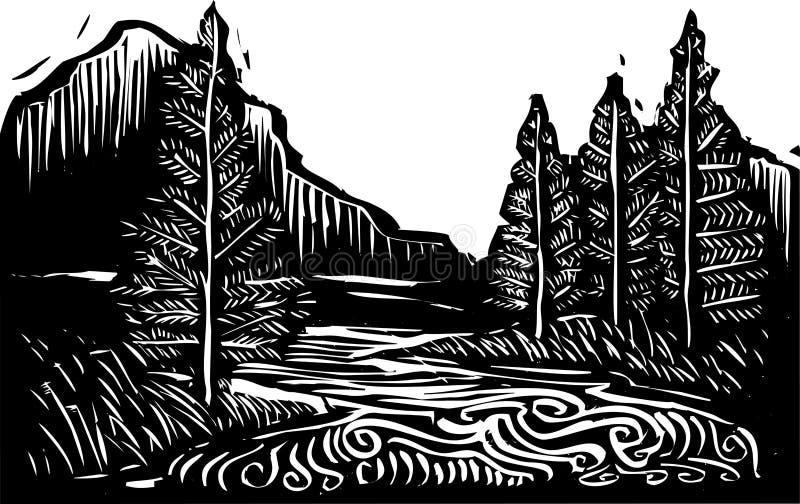 Ландшафт Woodcut иллюстрация вектора