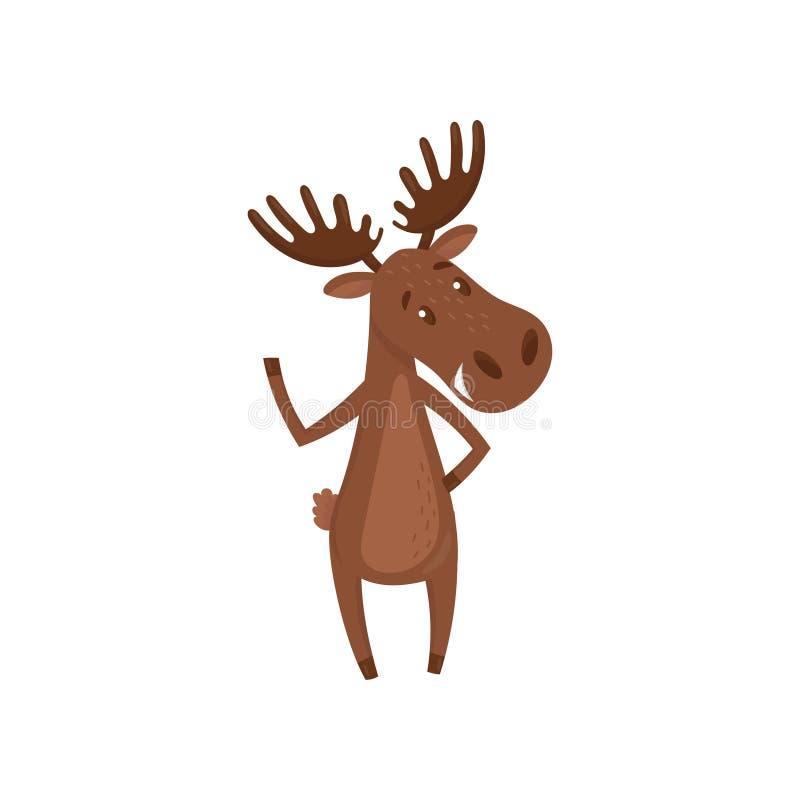 Лапка дружелюбных лосей развевая Животное леса с большими разветвленными рожками Персонаж из мультфильма евроазиатского лося Плос бесплатная иллюстрация