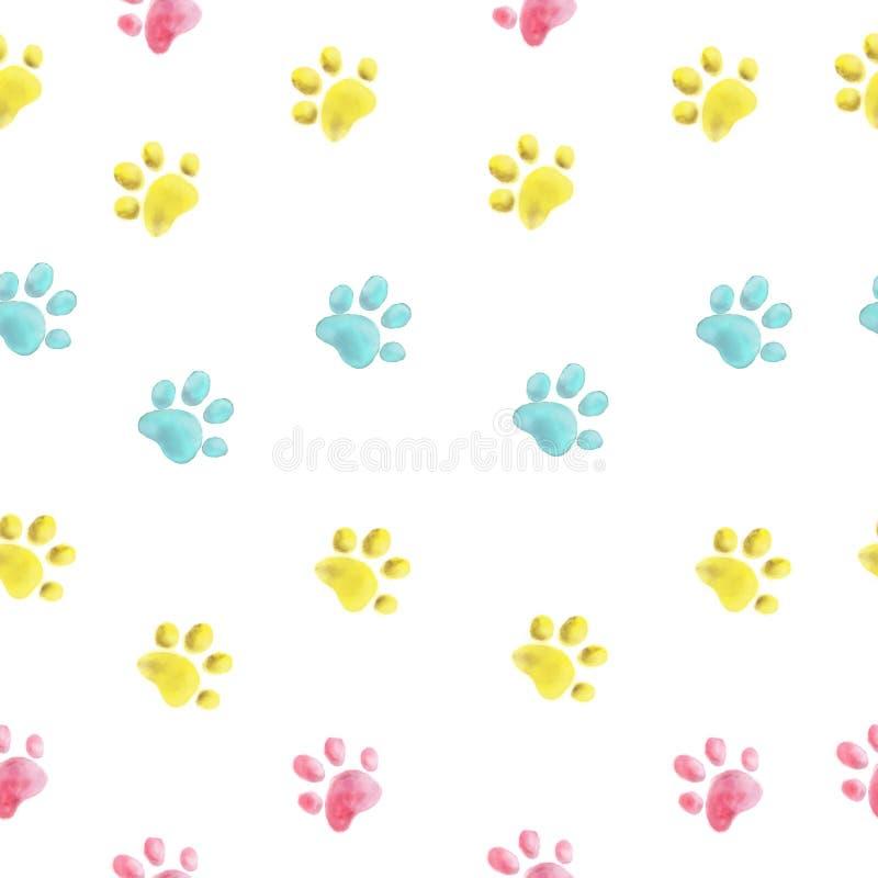 Лапки кота руки акварели картина вычерченной красочной безшовная бесплатная иллюстрация