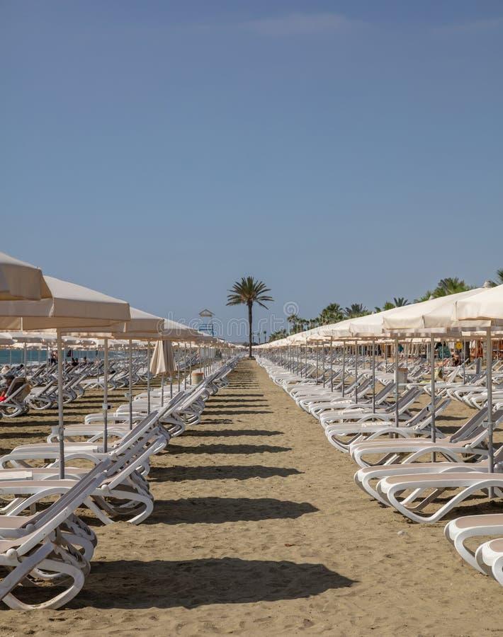 Ларнака, Кипр, пляж Makenzie Пустые шезлонги и зонтики стоковое изображение