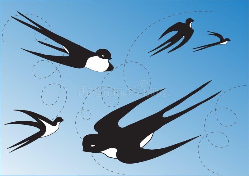 Ласточки в голубом небе иллюстрация вектора
