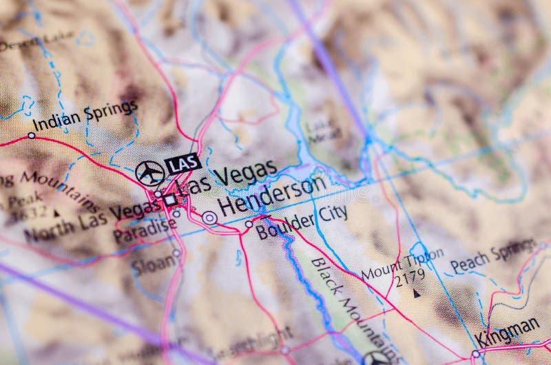Лас-Вегас на карте стоковые фотографии rf
