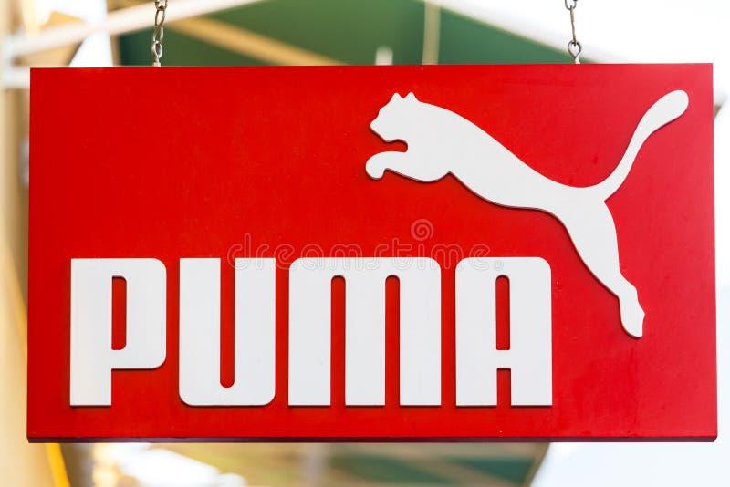 ЛАС-ВЕГАС, НЕВАДА - 22-ое августа 2016: Логотип пумы на фронте магазина стоковые фотографии rf