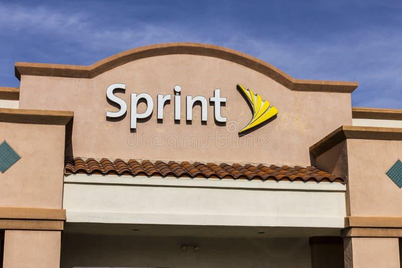 Лас-Вегас - около декабрь 2016: Магазин спринта розничный беспроволочный Спринт дочерняя компания Japan's SoftBank Группы Корпо стоковые фото