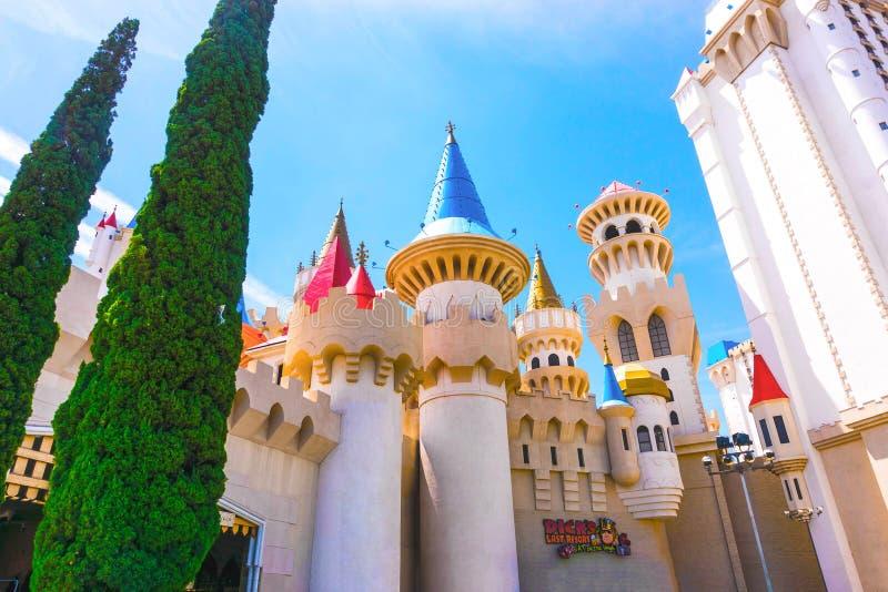 Лас-Вегас, США - 4-ое мая 2016: Гостиница и казино Excalibur внутри, Невада стоковое фото