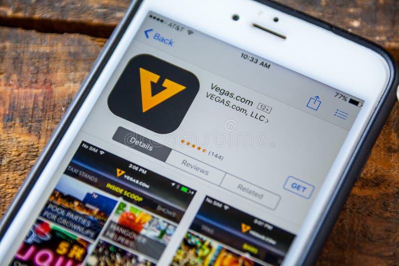 ЛАС-ВЕГАС, NV - 22-ое сентября 2016 - Вегас iPhone App com в стоковое фото