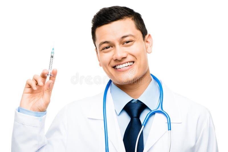 Латино-американский доктор держа шприц стоковое изображение