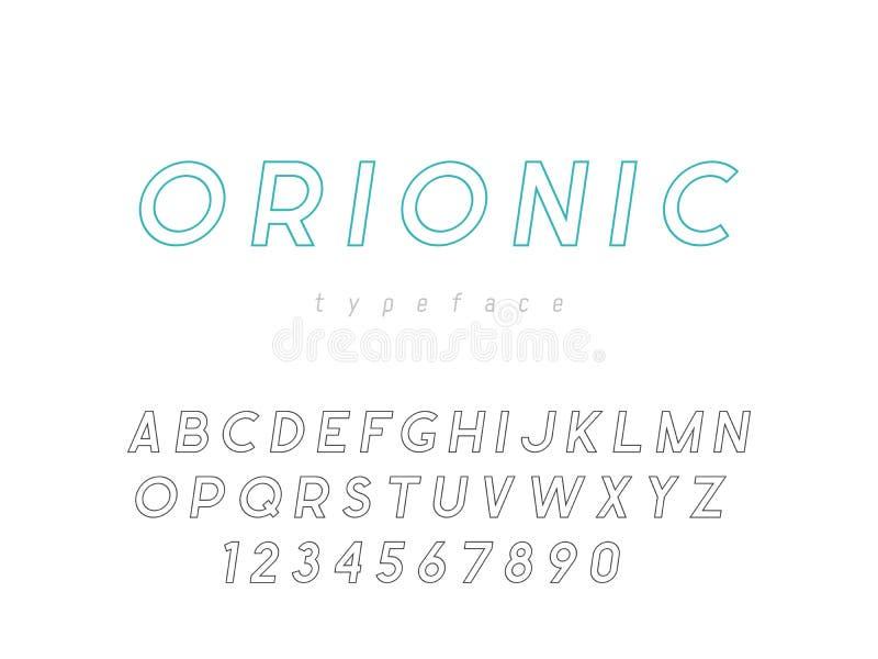 Латинские uppercase письма и номера алфавита Линейный шрифт также вектор иллюстрации притяжки corel иллюстрация вектора