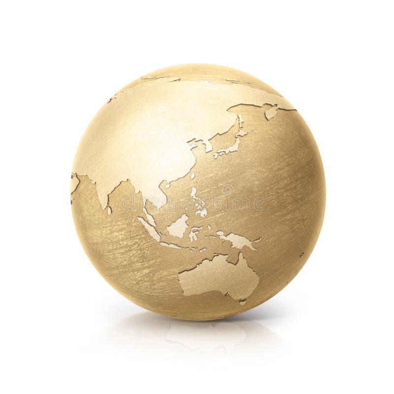 Латунная иллюстрация Азия и Австралия глобуса 3D составляет карту бесплатная иллюстрация