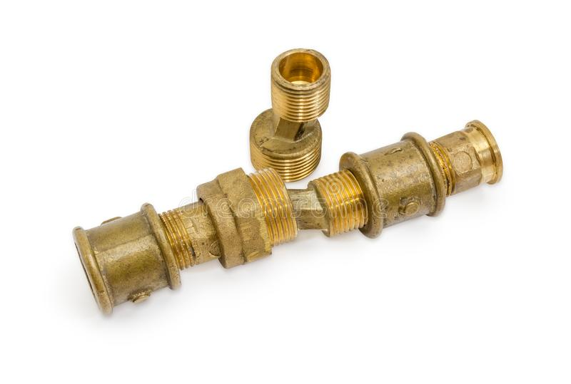 Латунные ексцентрическые соединители и другие компоненты трубопровода стоковые фотографии rf