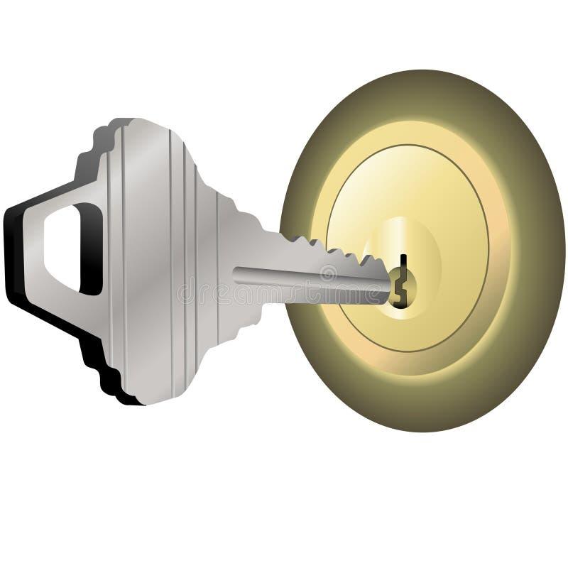 латунный замок ключа дома дома двери, котор нужно открыть иллюстрация вектора
