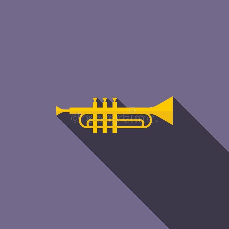 Латунный значок трубы, плоский стиль иллюстрация штока