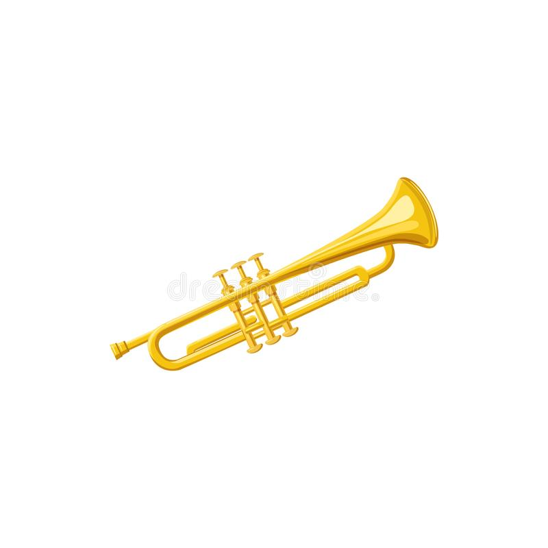 Латунный значок трубы, стиль шаржа иллюстрация вектора
