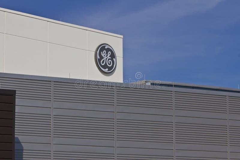 Лафайет, ВНУТРИ - около июль 2016: Объект авиации Дженерал Электрик Авиация GE изготовитель реактивных двигателей ПЕРЕСКАКИВАНИЯ  стоковые фото