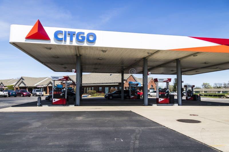 Лафайет - около апрель 2017: Газ и бензозаправочная колонка розницы Citgo Citgo рифайнер и транспортер газа и нефтехимических вещ стоковое изображение