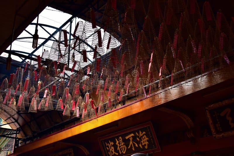 Ладан горя в виске Вьетнаме пагоды, абстрактном стоковое изображение rf