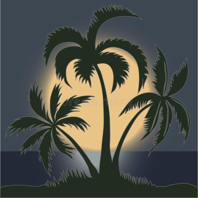 Ладони в лунном свете на пляже - векторе иллюстрация вектора