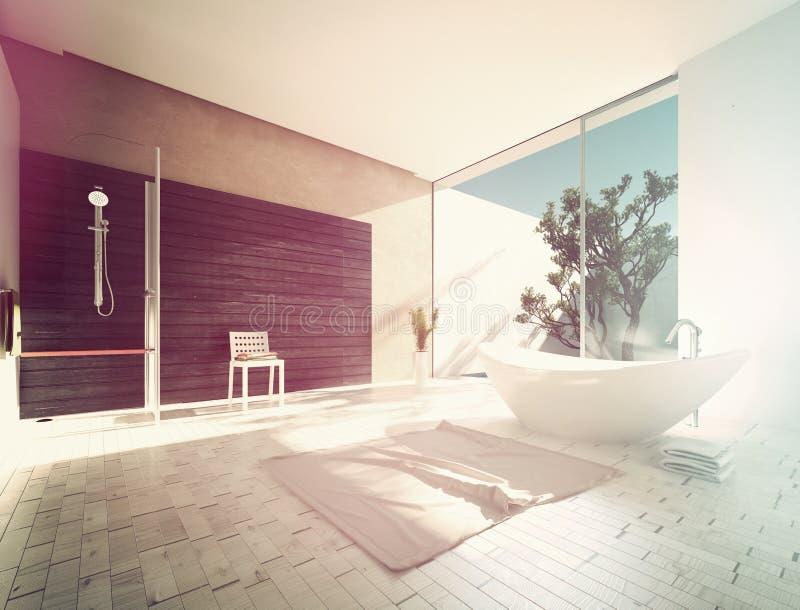 Ладьевидный ушат в современной ванной комнате иллюстрация штока