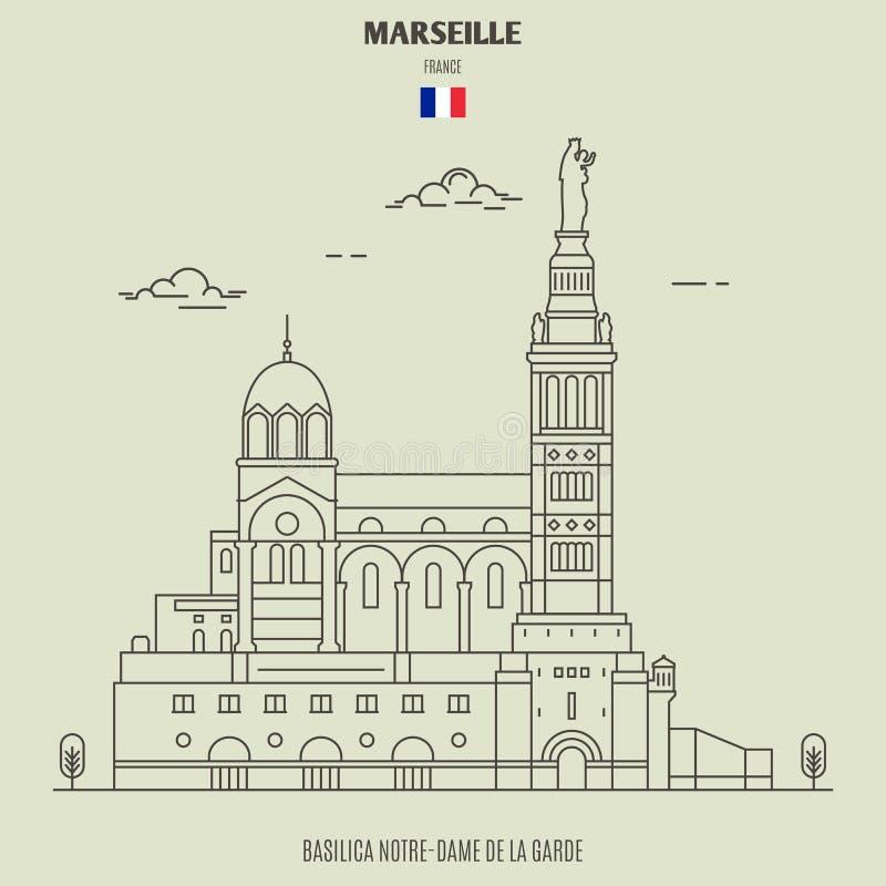 Ла Garde Нотр-Дам de базилики в марселе, Франции Значок ориентир ориентира иллюстрация штока