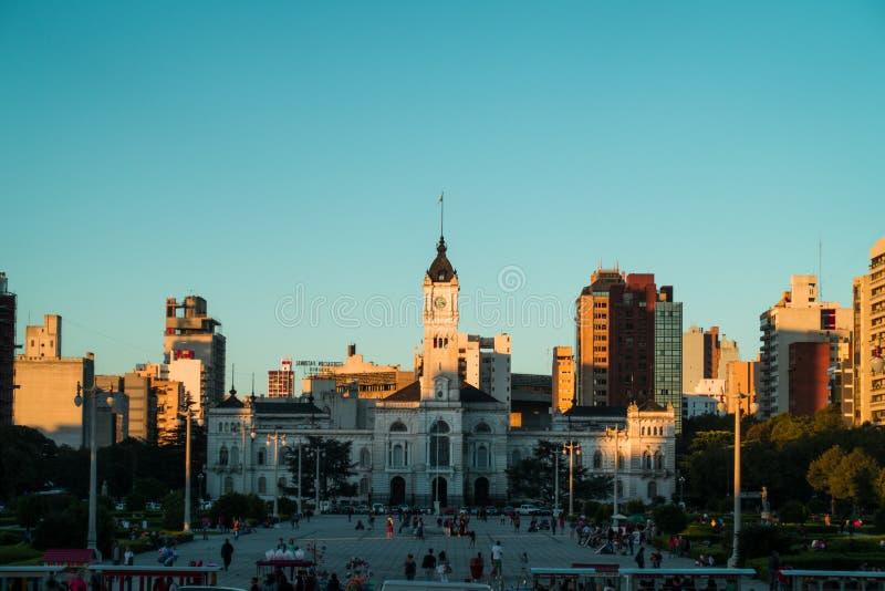 Ла Plata, Аргентина Июль 2015 Ландшафт Palacio муниципальный стоковые фотографии rf