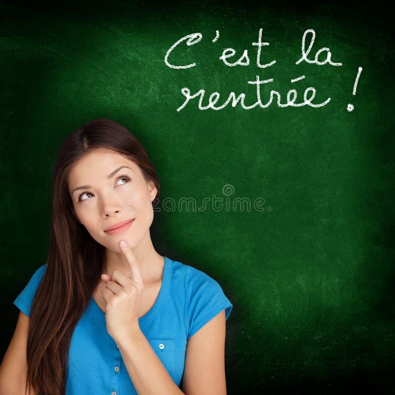 Ла Rentree Scolaire Cest - француз назад к школе стоковые фотографии rf