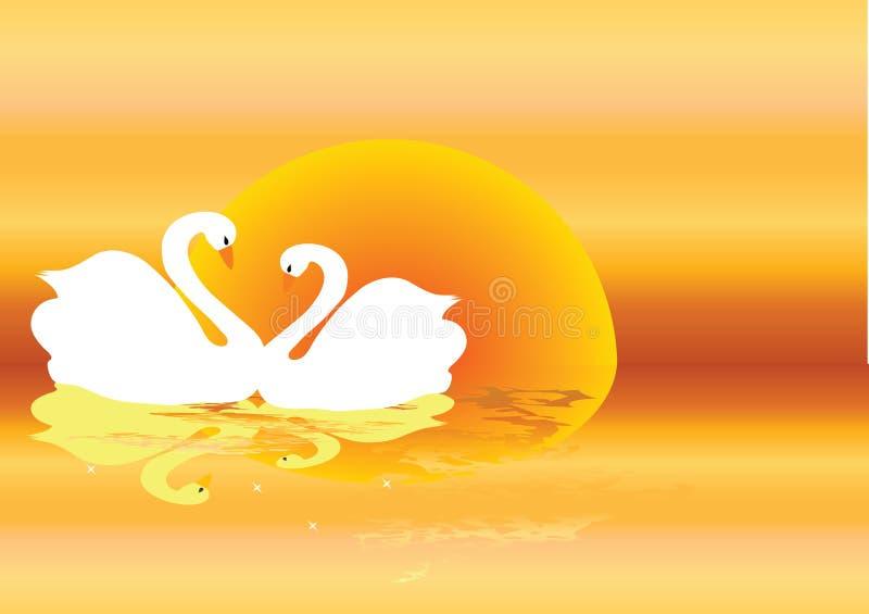 лебеди иллюстрация штока