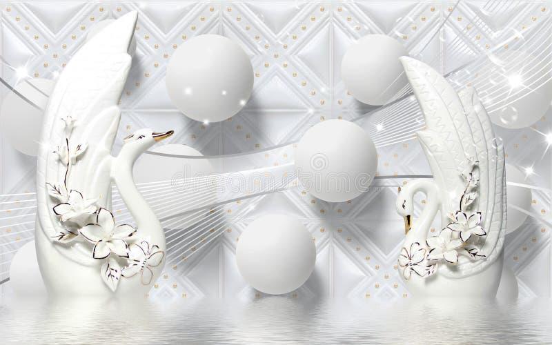 лебедь иллюстрации настенной росписи 3d золотой на воде с декоративными флористическими украшениями предпосылки, шариком 3d иллюстрация штока