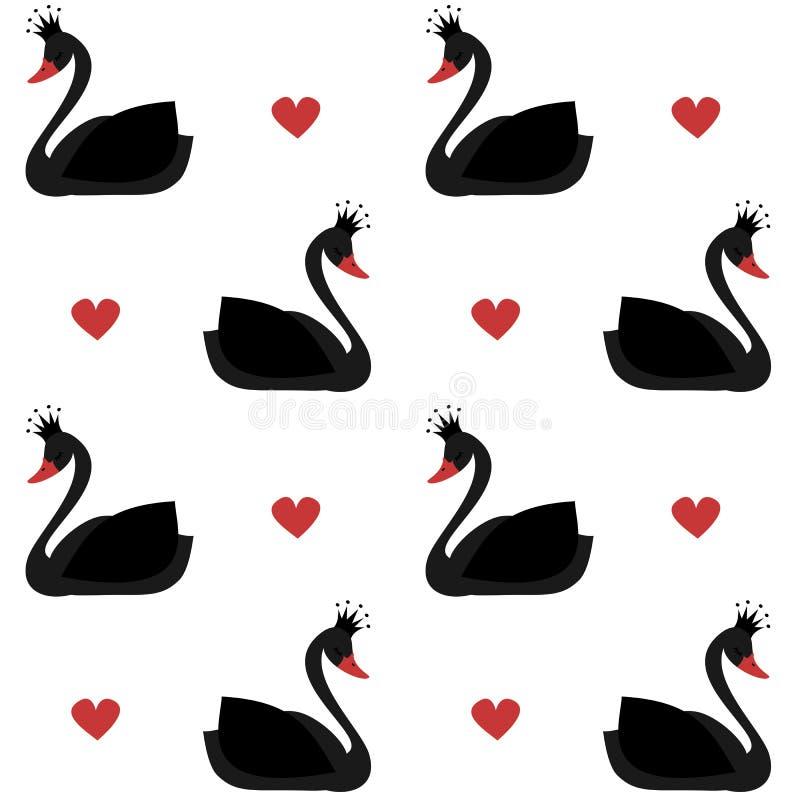 Лебедь милой симпатичной принцессы черный на иллюстрации картины вектора белой предпосылки безшовной иллюстрация вектора