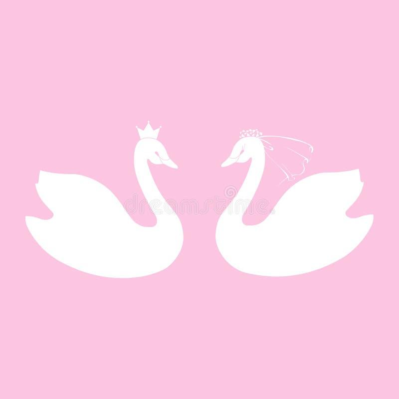 2 лебедя Символы свадьбы жениха и невеста в вуали Стилизованный вектор иллюстрация вектора