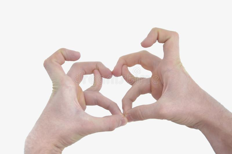 Левая и правая мужская рука, пальцы чего покажите картину на белой предпосылке стоковая фотография rf