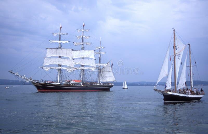 Левая сторона голландского sailship Stad Амстердама тренировки стоковое изображение rf