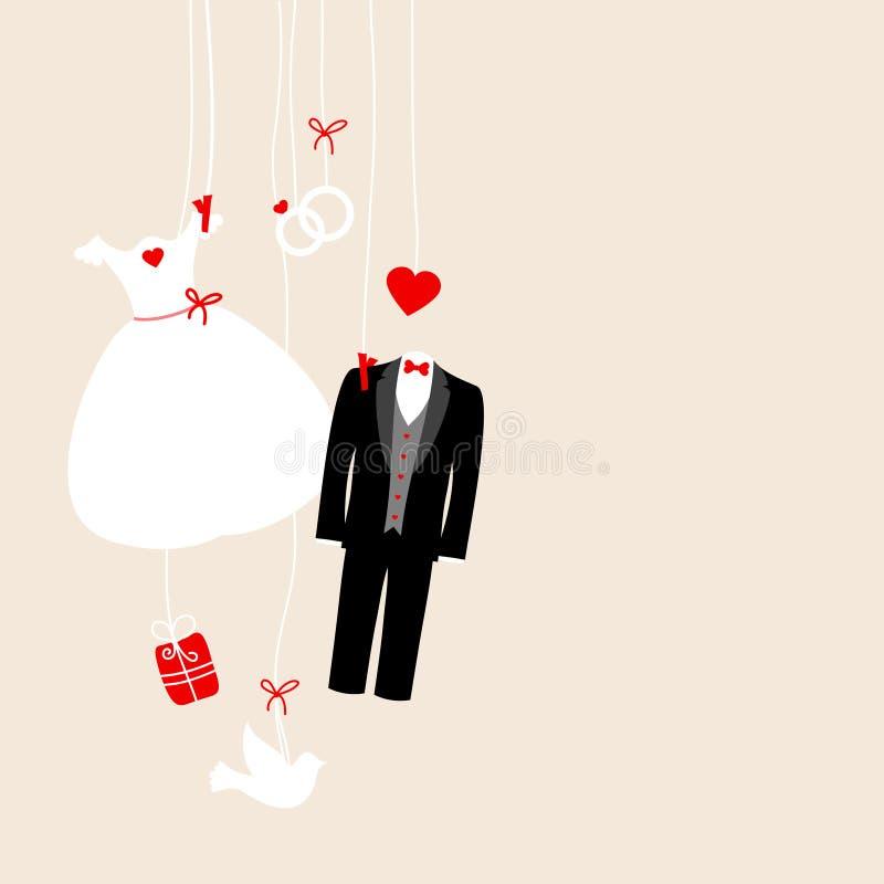 Левый вися беж значков свадьбы белый черный красный бесплатная иллюстрация