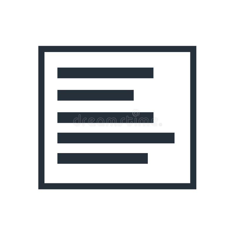 Левый знак и символ вектора значка бортового выравнивания изолированные на белой предпосылке, левой концепции логотипа бортового  иллюстрация штока